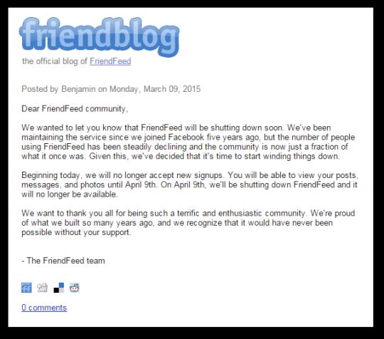 FriendFeed cierra el próximo 9 de abril