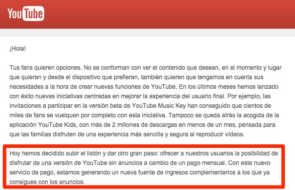 Boletín de Google en el que se anuncian suscripciones de pago en YouTube
