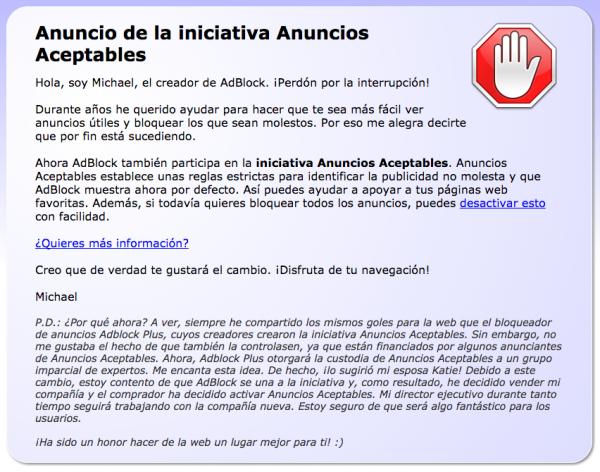 AdBlock ahora permite por defecto los Anuncios Aceptables