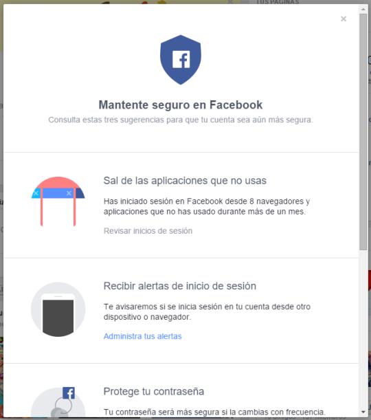 Facebook nos invita a revisar la seguridad de la cuenta con un nuevo asistente