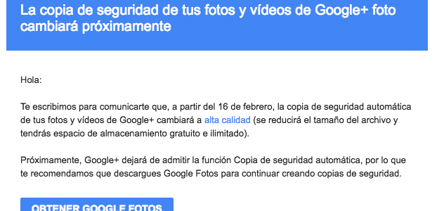 Google retira la copia de seguridad de Google+ Fotos