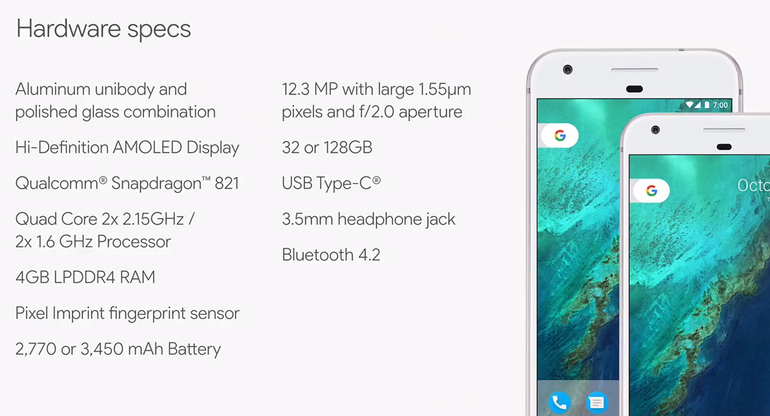 Tabla de especificaciones del Google Pixel