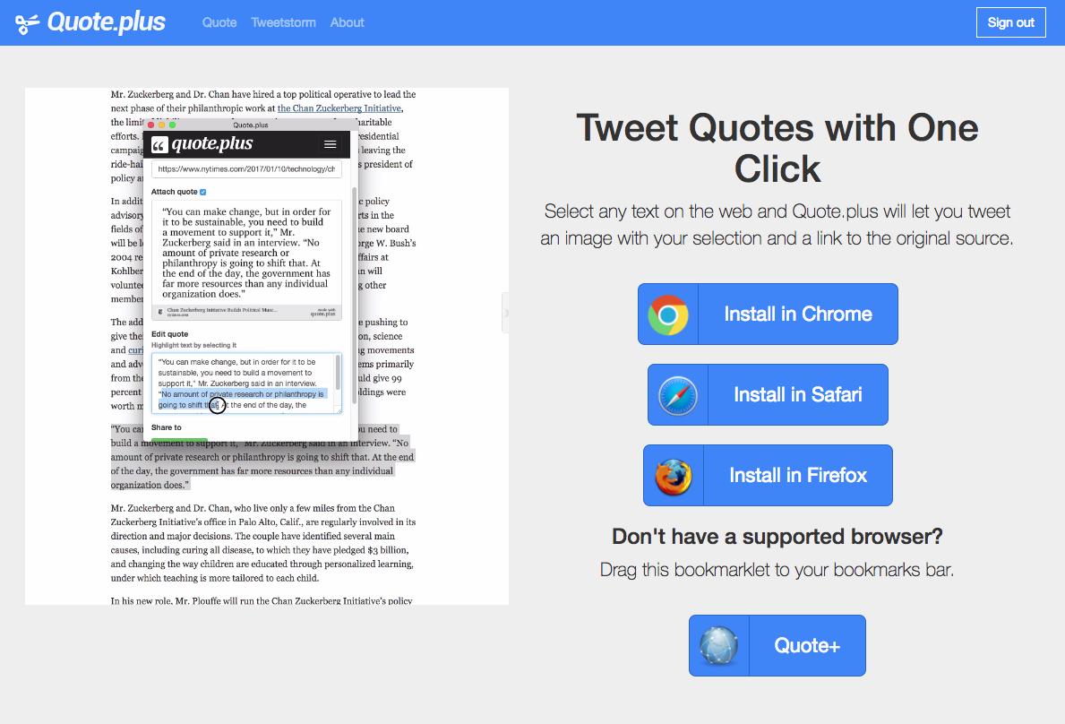 Quote.plus, comparte enlaces citando un texto en forma de imagen