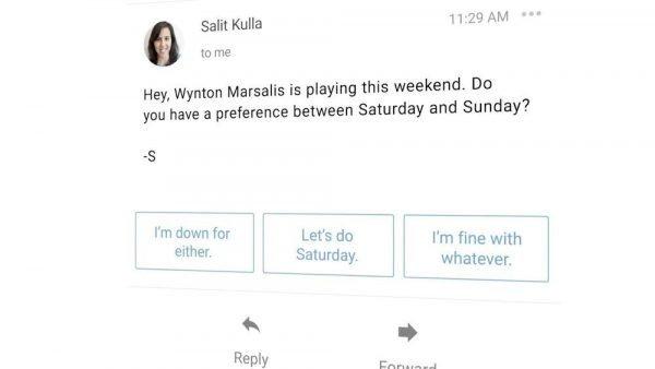Captura de pantalla de Smart Reply en Gmail
