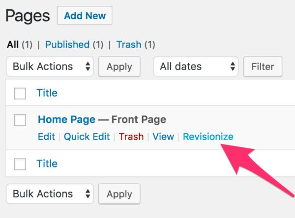 Revisionize, plugin WordPress que permite crear borradores de entradas y páginas ya publicadas