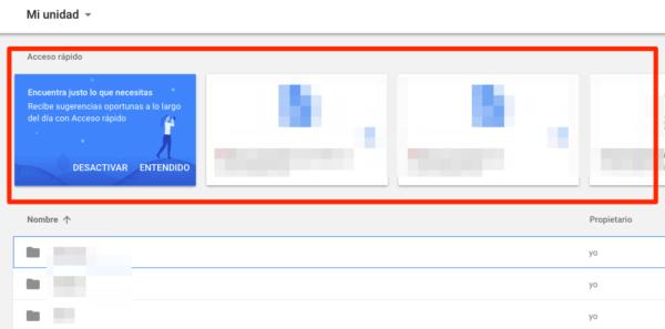 Google Drive añade una nueva función llamada Acceso rápido para darte sugerencias basadas en sus algoritmos