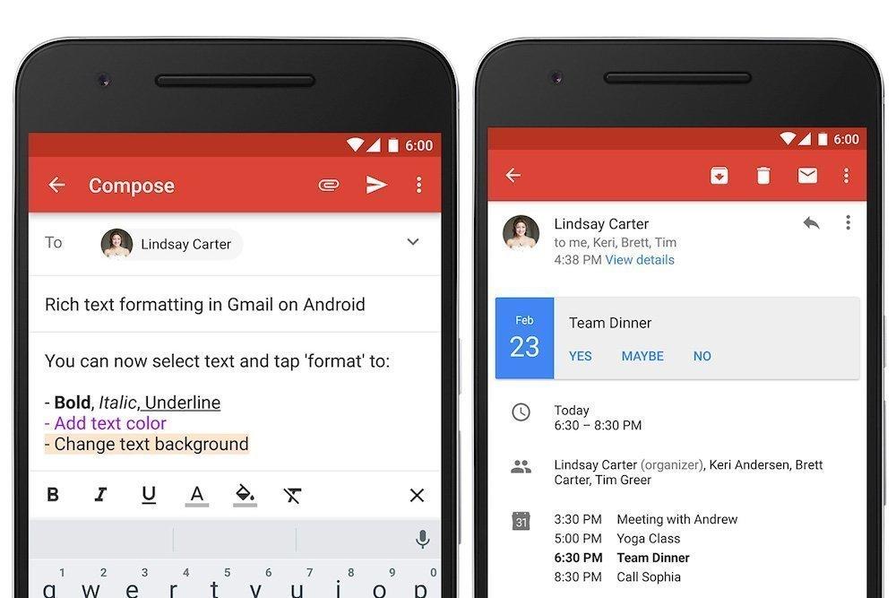 Ahora Gmail te permite dar formato al texto y contestar a las invitaciones de eventos desde la aplicación para Android
