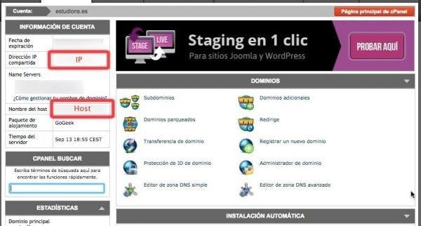 Datos de la cuenta en SiteGround - IP y host