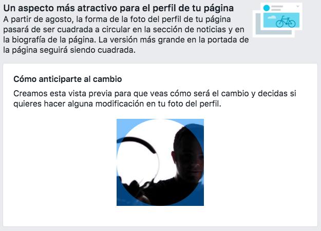 La foto de perfil de las páginas de Facebook será circular
