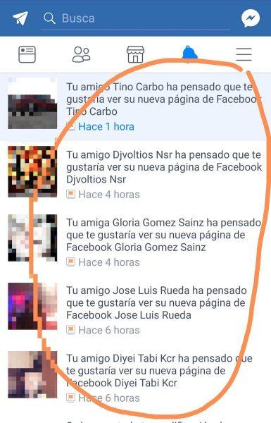 Captura de la aplicación de Facebook donde se ven las notificaciones