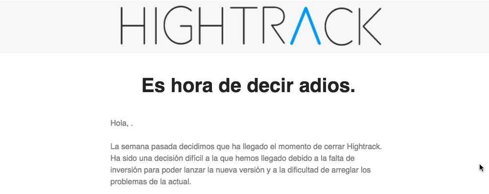 Hightrack, el servicio de productividad de Berto Pena, echa el cierre