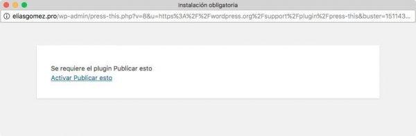 WordPress 4.9 se carga Press This deshabilitando el bookmarklet