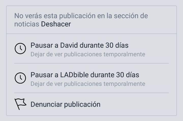 Facebook ya no te deja ocultar una Página o Perfil cuando ocultas una de sus publicaciones