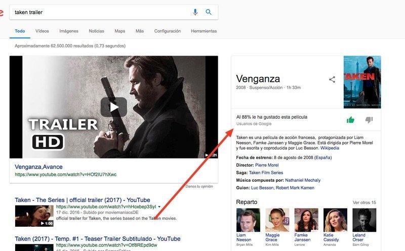 Google ofrece valoración de películas en los resultados de búsqueda