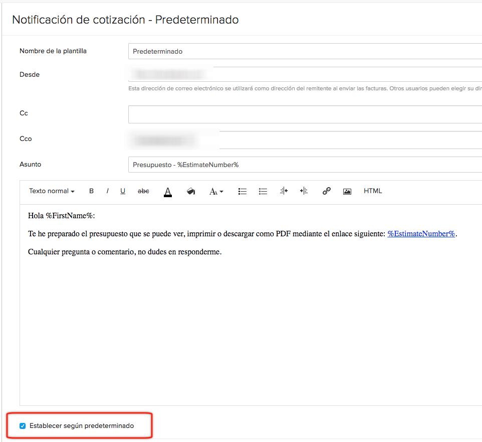 Traducciones imprecisas: Establecer como predeterminado en Zoho Invoice