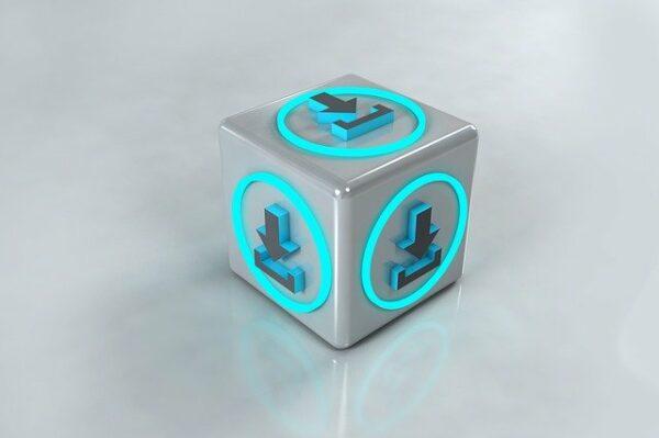 Caja en 3D representando descargas