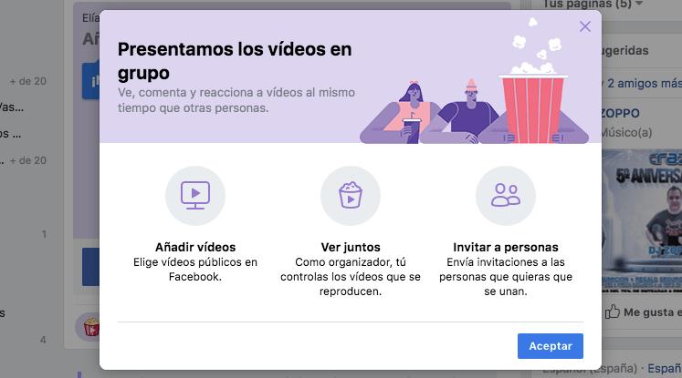 Facebook añade la posibilidad de ver vídeos en tiempo real con tus amigos