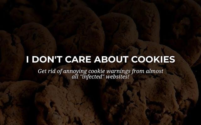 I don't care about cookies, extensión para ocultar los avisos de cookies en páginas web