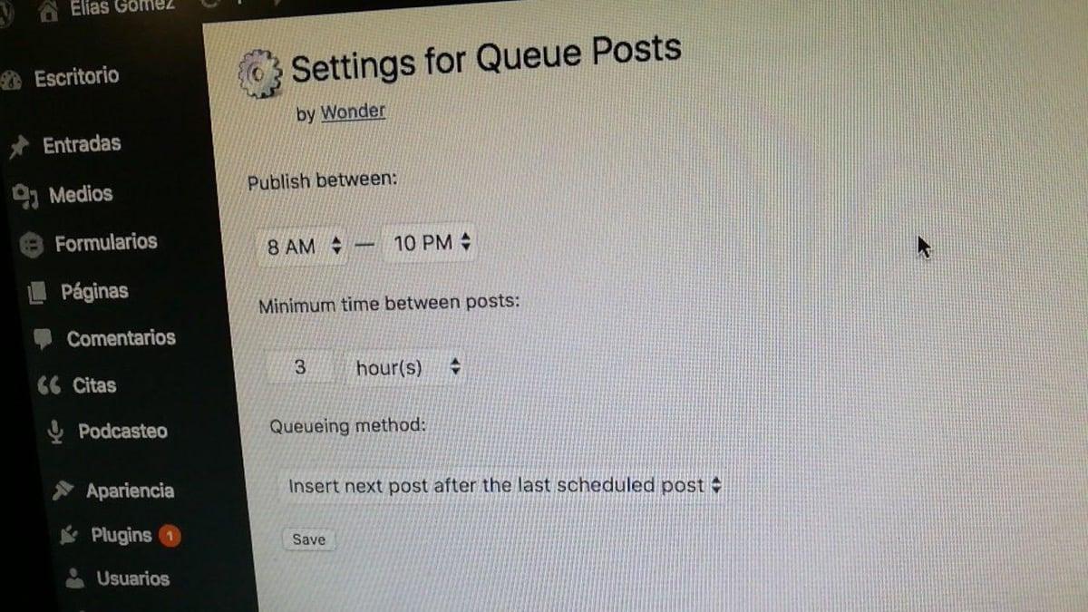 Queue Posts, plugin para que tu WordPress tenga una cola de publicación al estilo Buffer