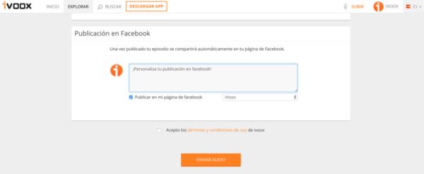 iVoox ahora te permite publicar tus episodios en Facebook automáticamente