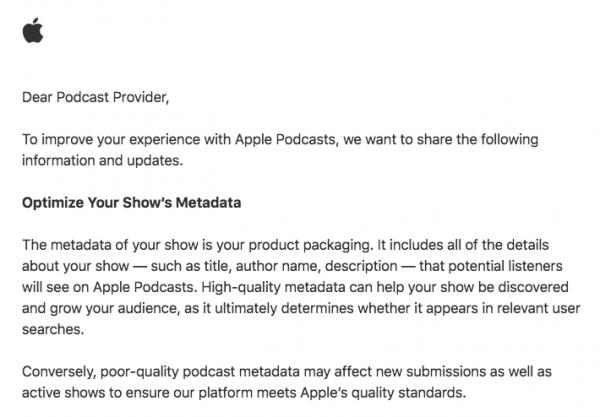 Apple manda un email a podcasters con consejos y cunde el pánico