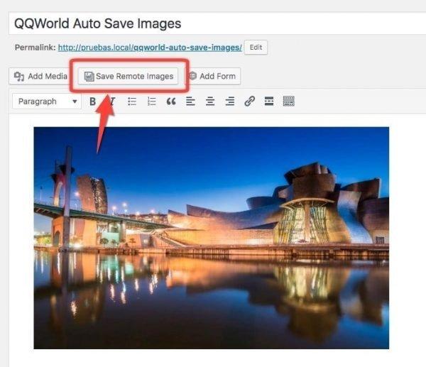 Botón de QQWorld Auto Save Images en el editor de WordPress - Plugins para imágenes remotas
