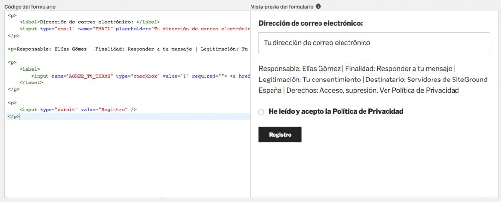 Configuración para cumplir RGPD de MailChimp for WordPress