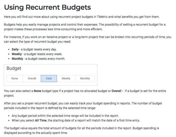 Tmetric Recurrent Budgets