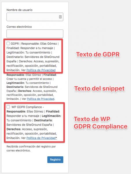 Resultado de plugins WordPress que permiten colocar la primera capa RGPD en el registro de usuario
