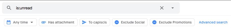 Interfaz de búsqueda avanzada en Gmail
