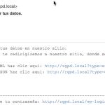 Email recibido tras pedir exportación de datos RGPD en el plugin