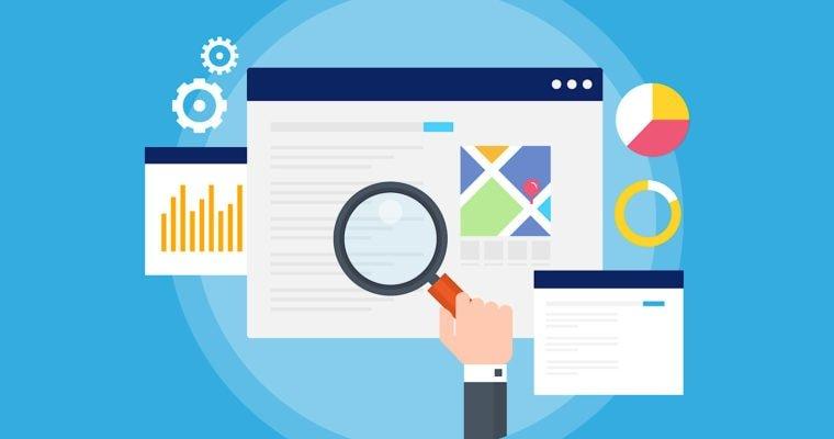 ilustración web marketing buscador lupa