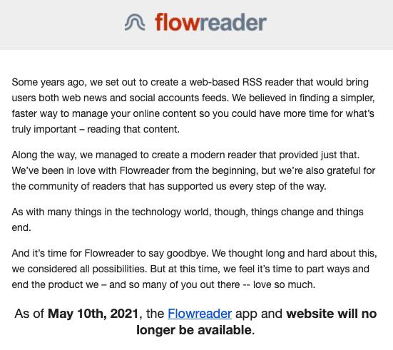 FlowReader cierra sus puertas