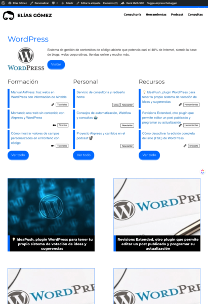 Archives de etiquetas WordPress dinámicos por categorías de los posts